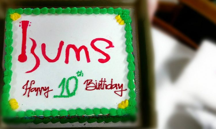 BUMS celebrate 10 years with cake!